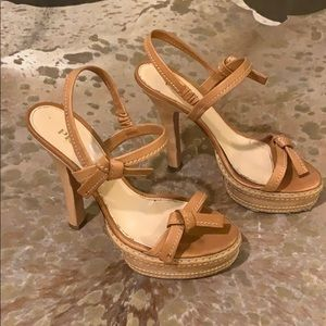 Prada nude leather platform sandal pumps - Euro 37